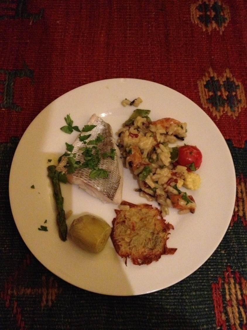 Dorade à la vinaigrette de curry et petits légumes