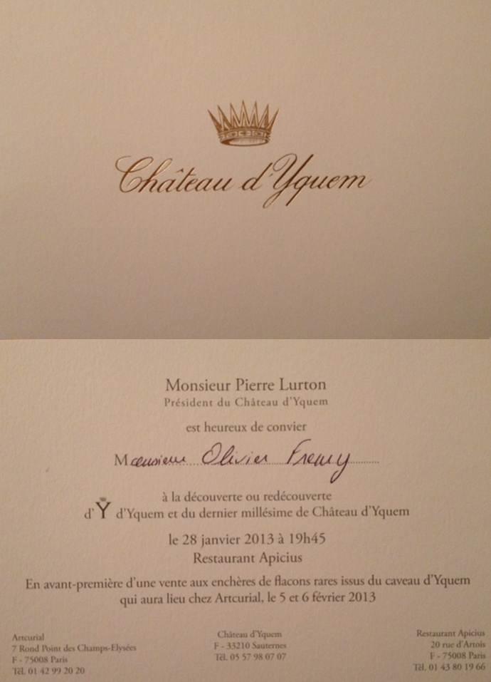 Invitation dîner Yquem