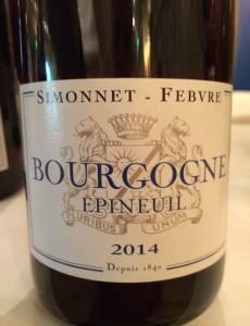 Bourgogne Epineuil Simonnet-Febvre 2014