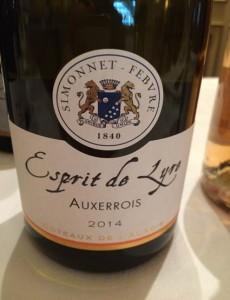 Coteaux de l'Auxois Simonnet-Febvre Esprit de Lyre 2014